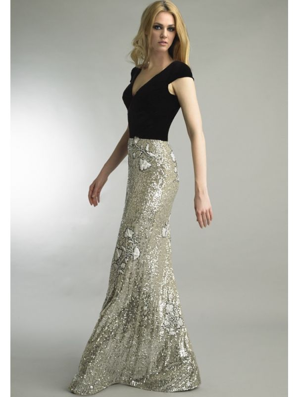 Sequined Evening Dress With Velvet Top