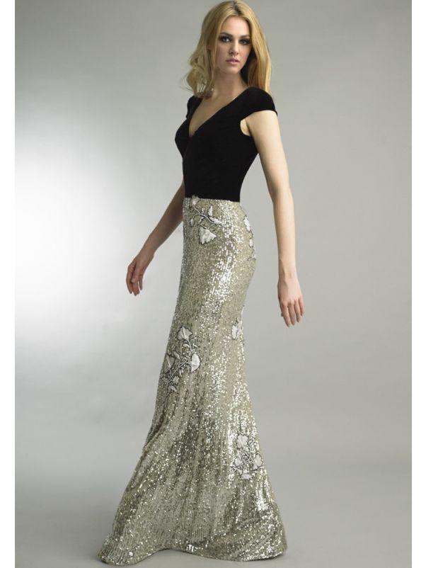 Sequined Evening Dress With Velvet Top