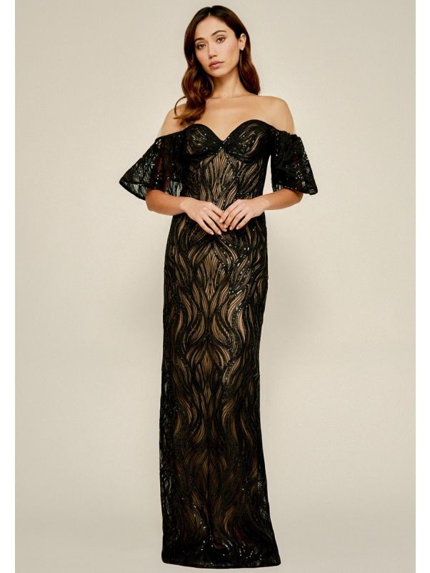 Sequined Evening Dress With Ruffles