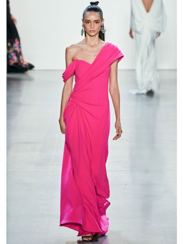 Draped On-Shoulder Crepe Gown