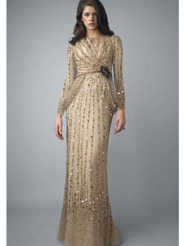 Beaded Long Sleeves Evening Gown