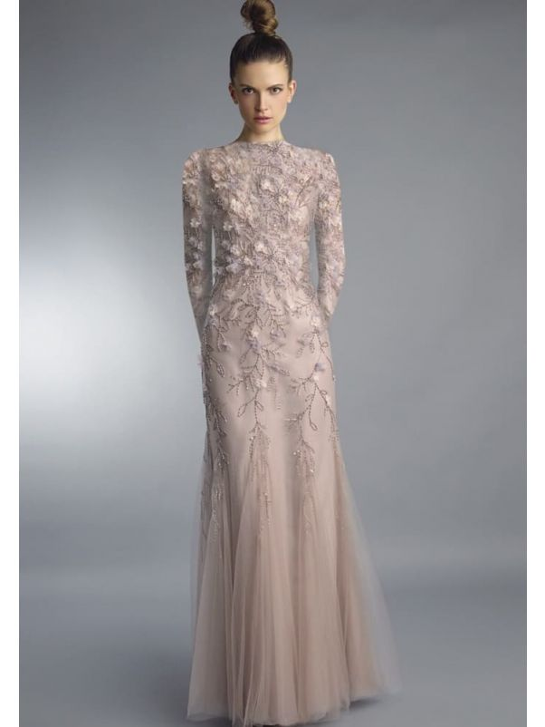 Beaded 3D Flowers Evening Gown
