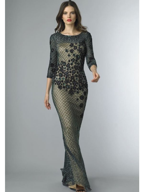 Beaded 3/4 Sleeves Evening Gown