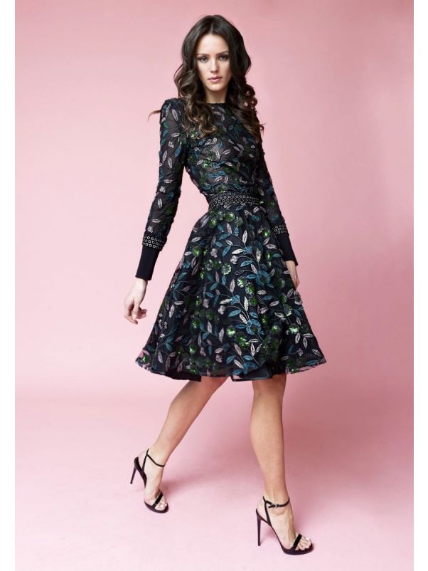 Embroidered Flower Black Tulle Gown