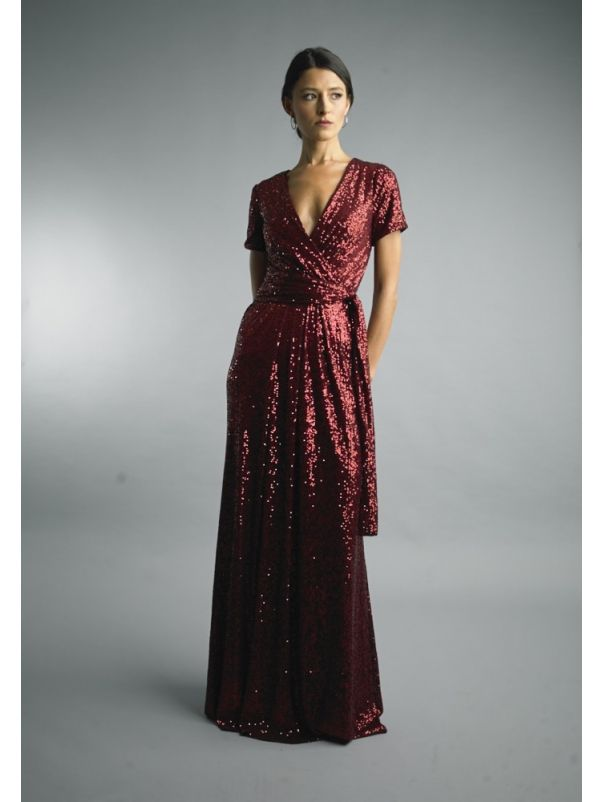 Draped Sequined Evening Gown
