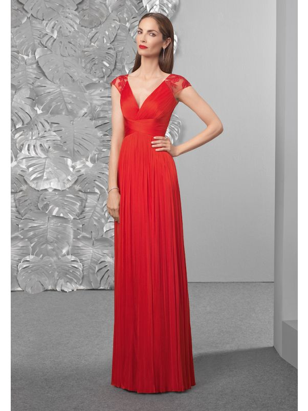 Pleated Red Tulle Gown With Sheer Back