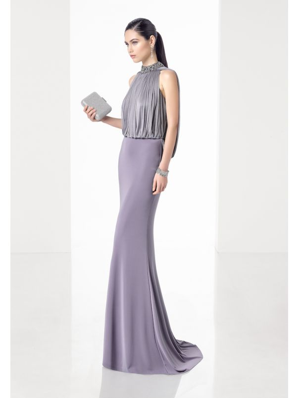 Pleated Crepe Gown