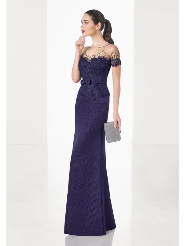 Beaded Lace Evening Dress With Sleeves