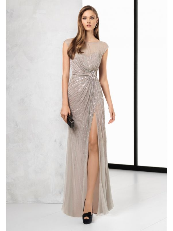 Heavily Beaded Slit Gown
