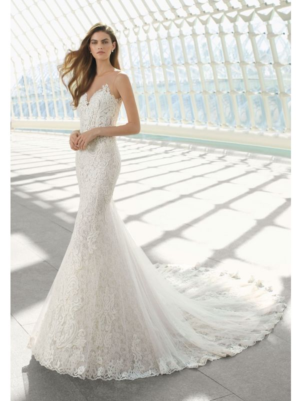 Embroidered Mermaid Wedding Dress With Sheer Back