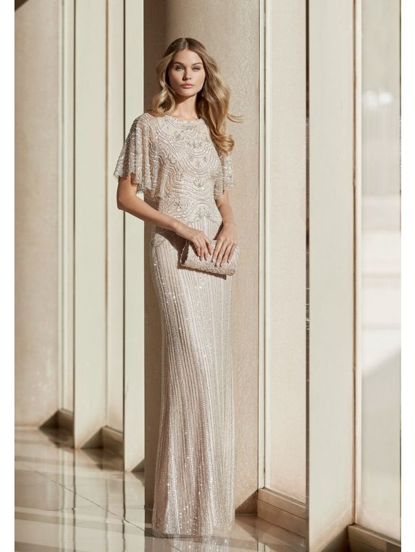 Beaded Beige Gown With Sleeves