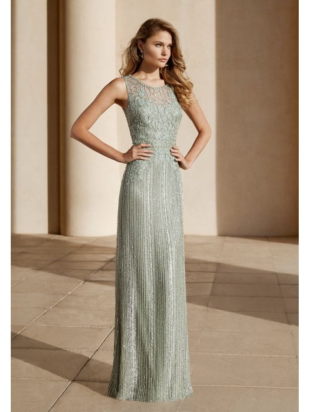 Beaded Olive Green Evening Dress
