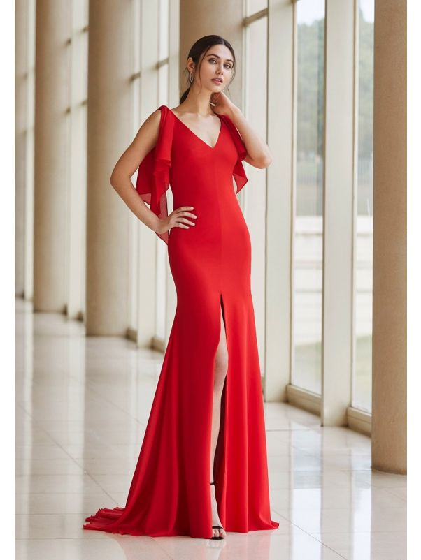 Fitted Crepe Slit Gown