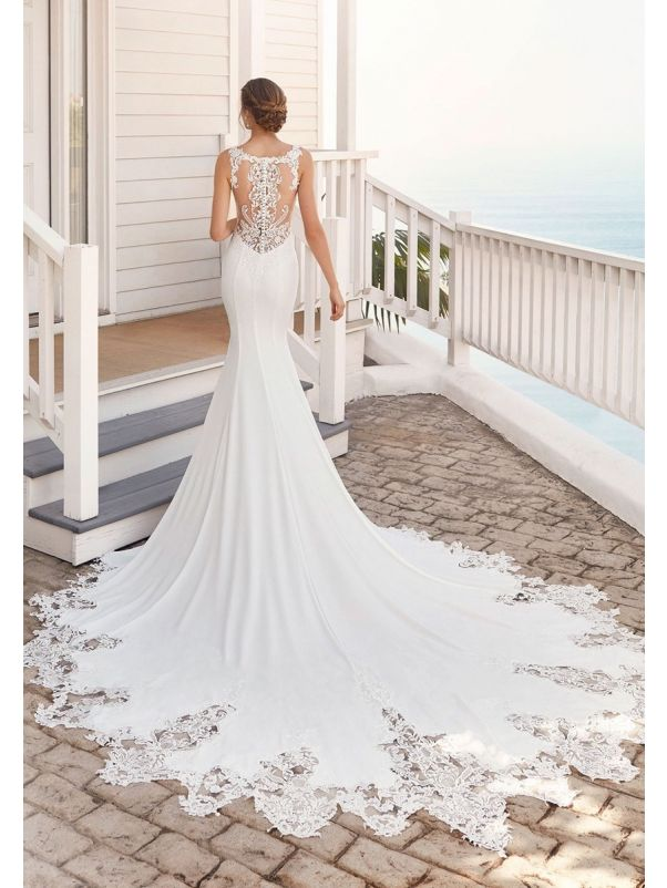 Crepe Wedding Dress With Tattoo-Effect Back