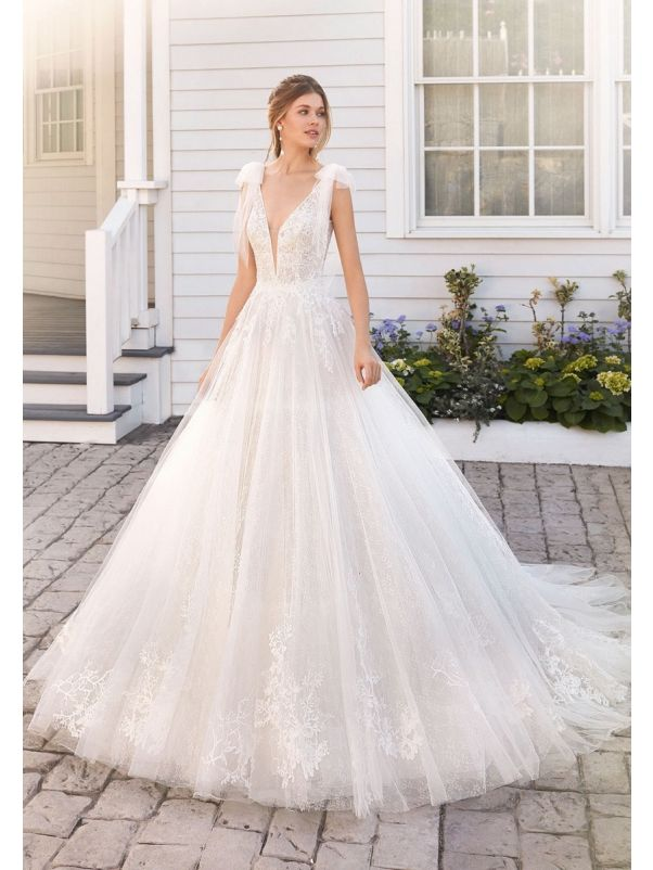 Embroidered Lace Ball Gown With Open Back
