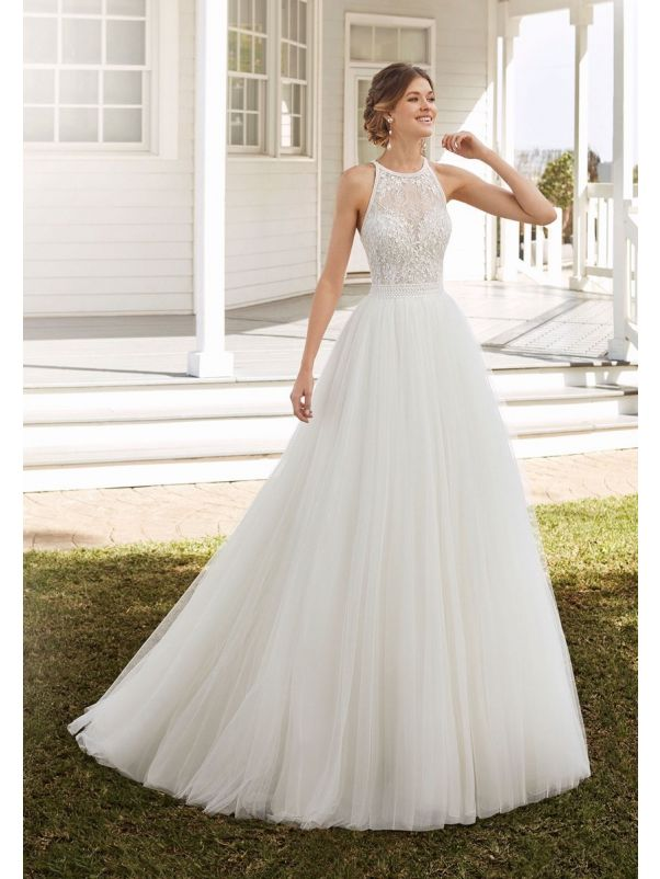 Beaded Tulle Ball Gown With Open Back