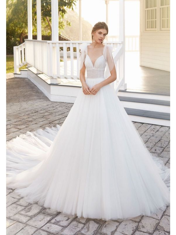 Beaded Tulle Ball Gown With Long Train