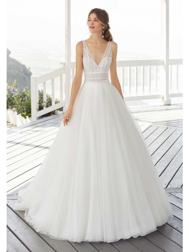 Beaded Tulle Wedding Dress With Open Back