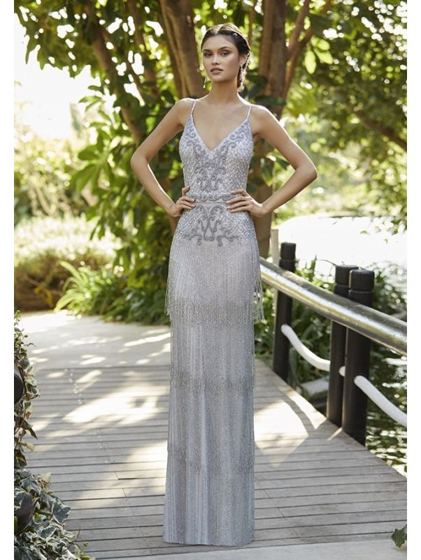 Beaded Evening Gown With Low Back