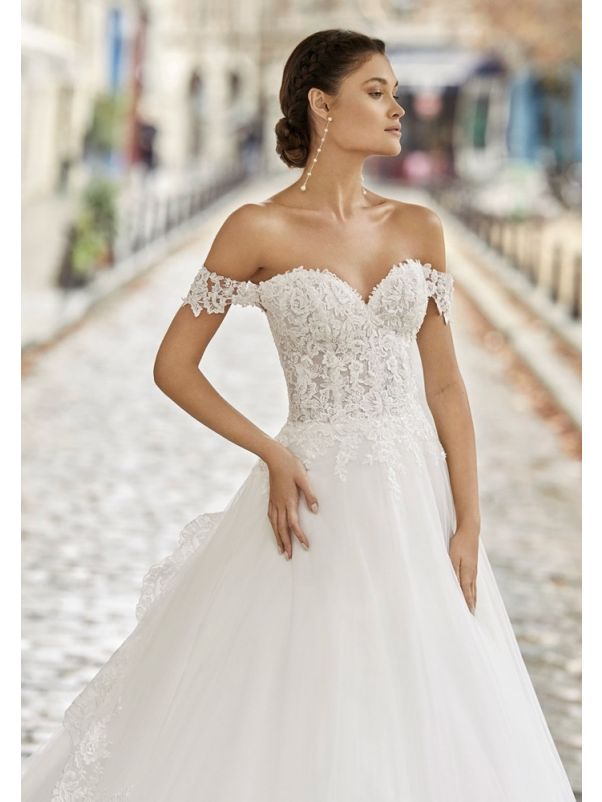 Lace Embroidered Corseted Ball Gown