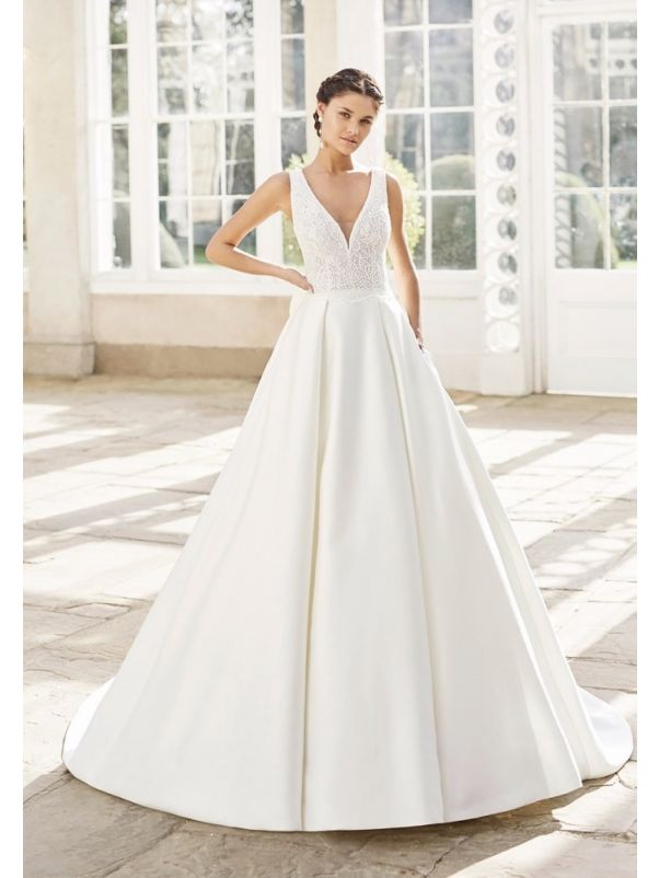 Beaded Lace Ball Gown With Bow