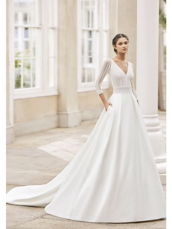 Beaded French Sleeves Ball Gown