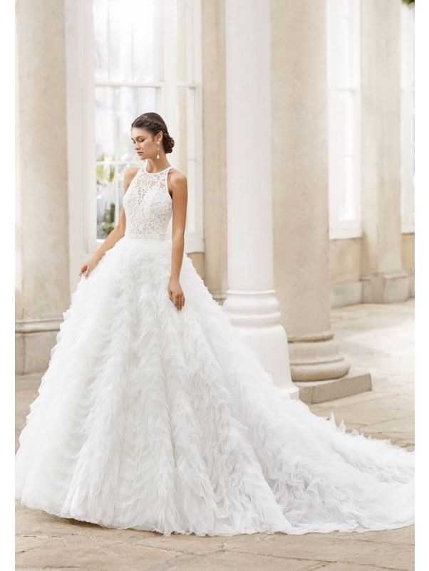 Embroidered Ruffle Wedding Dress