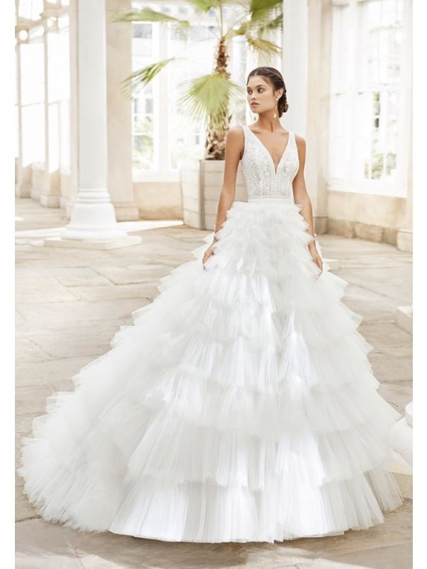 Embroidered Ruffle Ball Gown