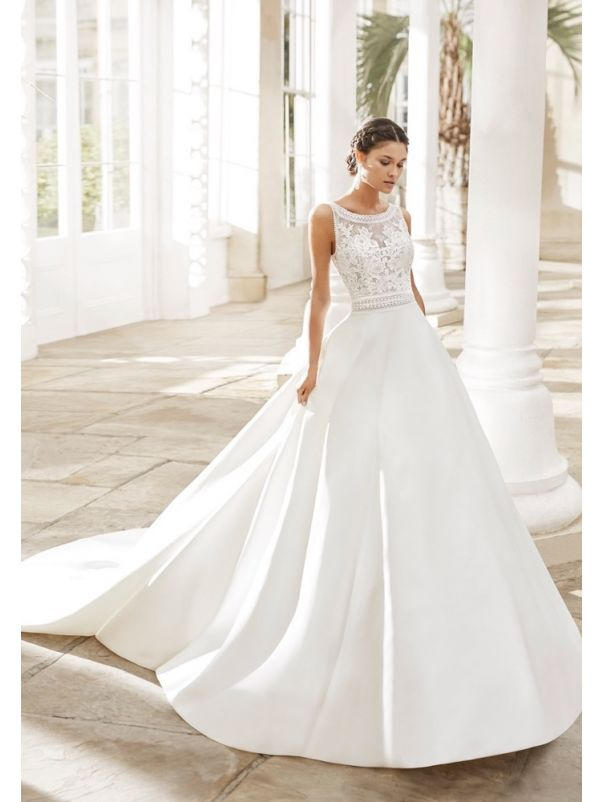 Embroidered Wedding Dress With Keyhole Back