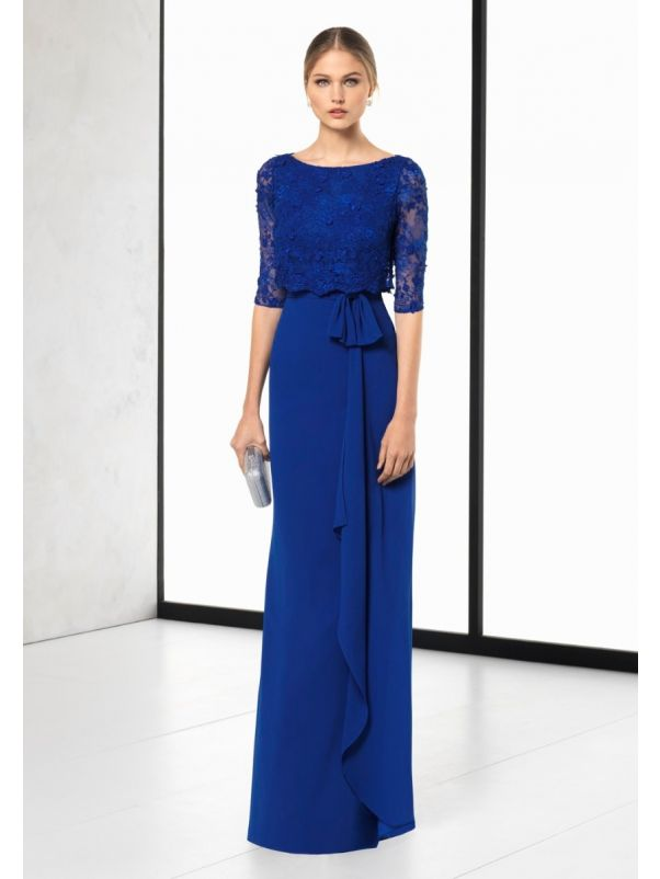 Embroidered Crepe Gown With Sleeves