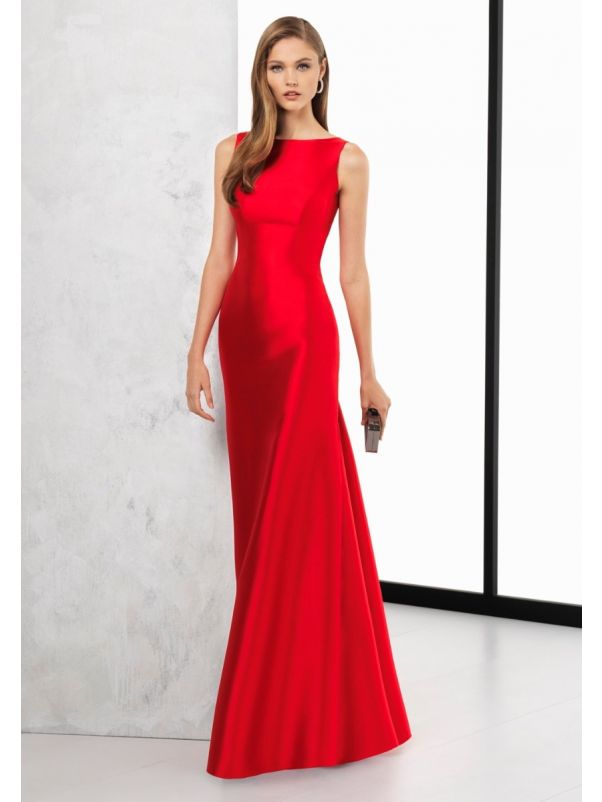 Minimalist Satin Gown With Open Back