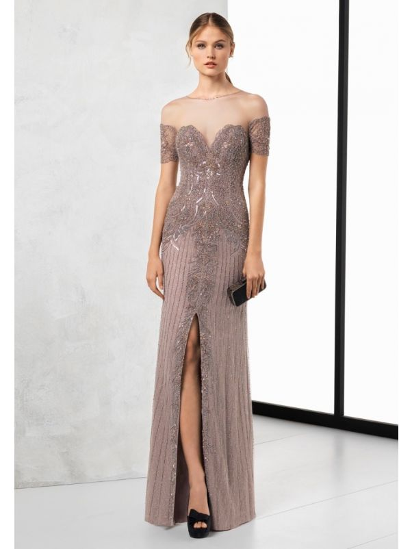 Embellished Slit Gown With Sheer Back