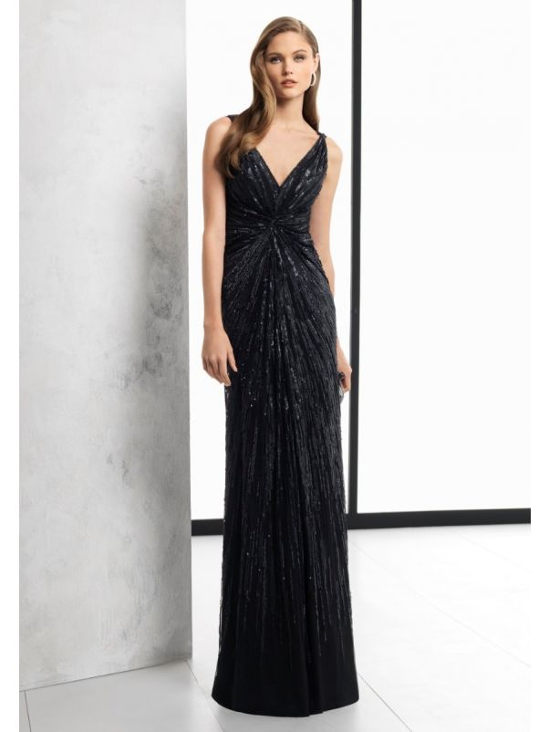 Sequined Draped Tulle Gown