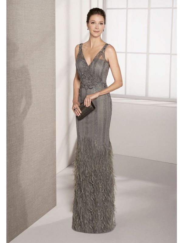 Beaded Gown With Plunging Back