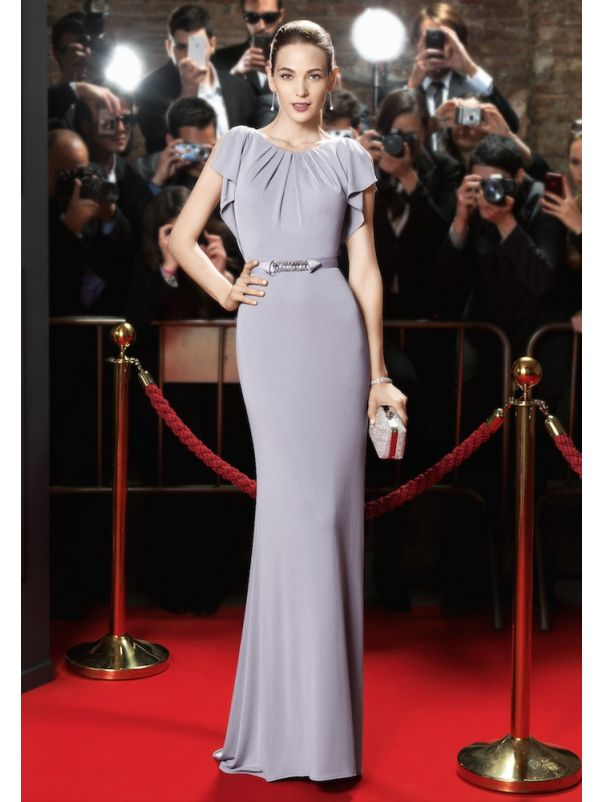 Fitted Crepe Gown With Cap Sleeves