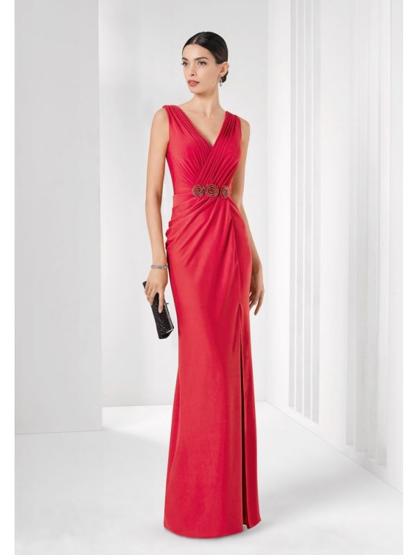 Draped Crepe Slit Gown