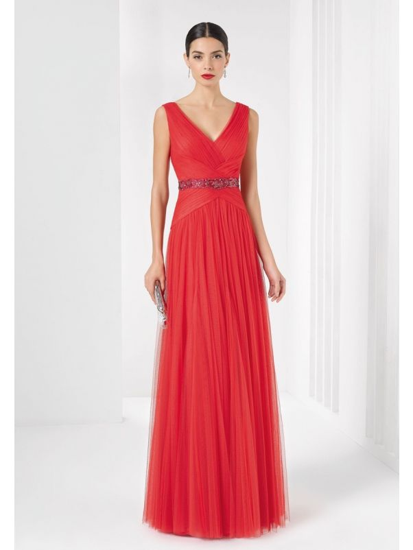 Ruched Red Tulle Gown
