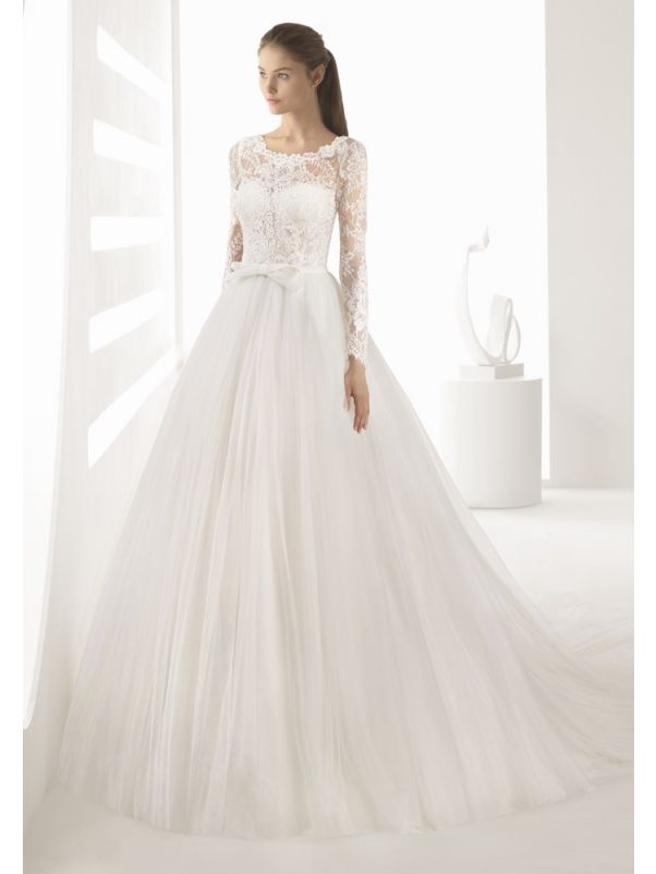 Embroidered Long Sleeves Ball Gown