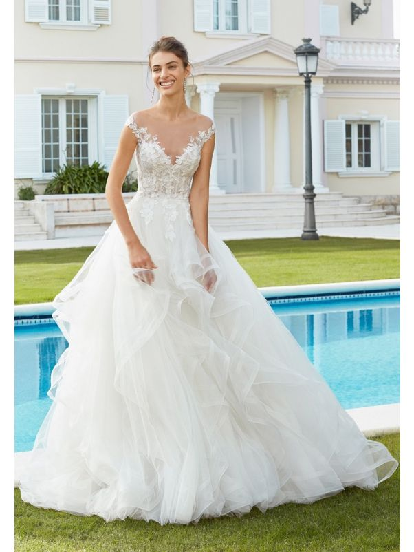 Beaded Ruffle Wedding Dress