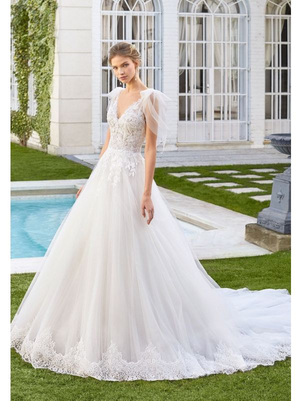 Beaded Tulle Ball Gown With Bow Sleeves
