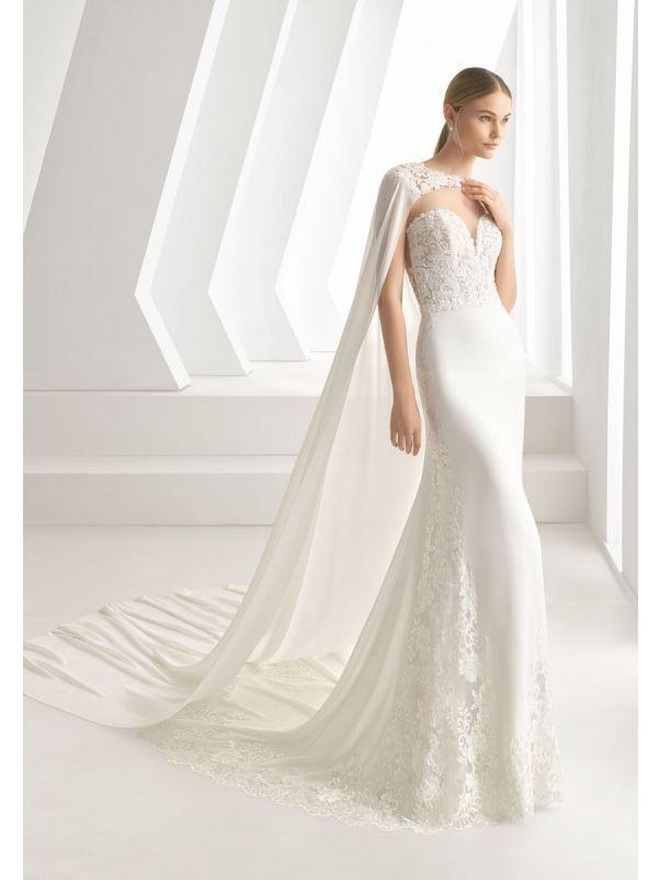 Beaded Crepe Wedding Dress With Cape