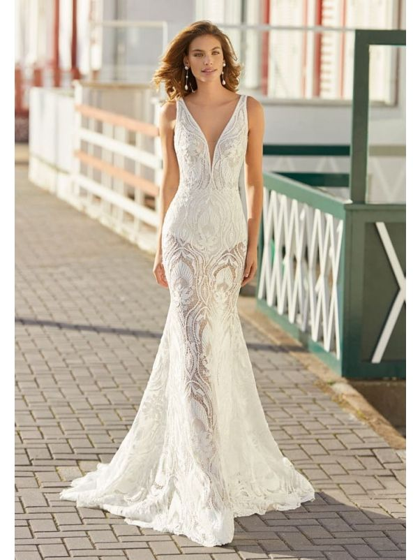Floral Lace Sheer Wedding Dress