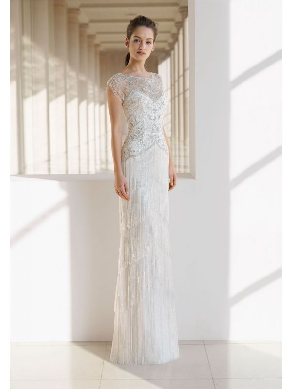 Beaded Wedding Dress With Fringes