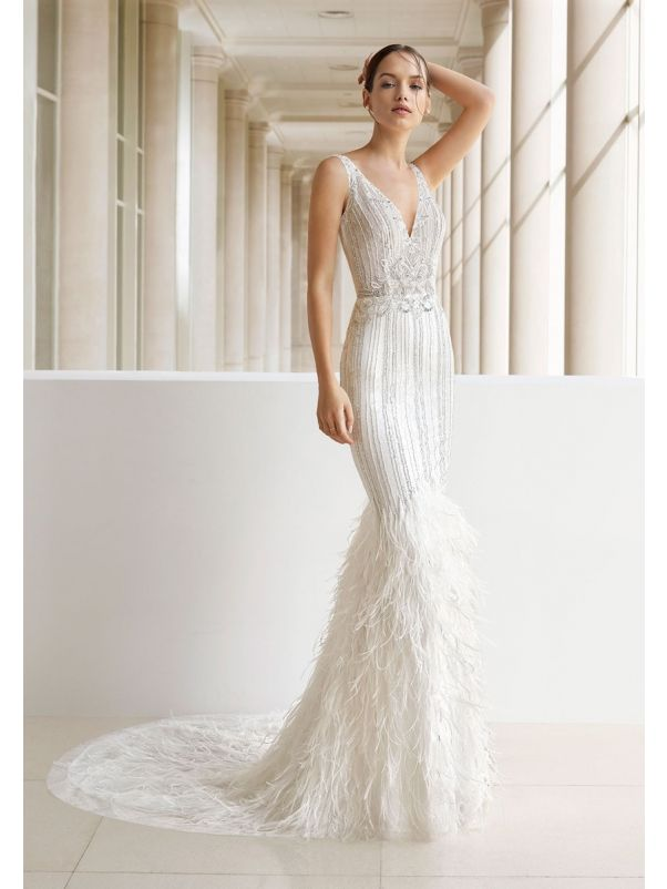 Heavily Beaded Wedding Dress With Feathers
