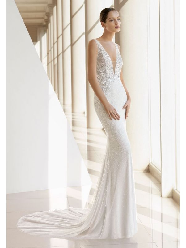 Fully Beaded Wedding Dress With Plunging Back