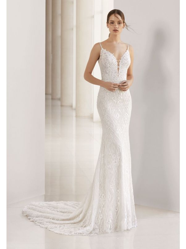 Beaded Wedding Dress With Plunging Back
