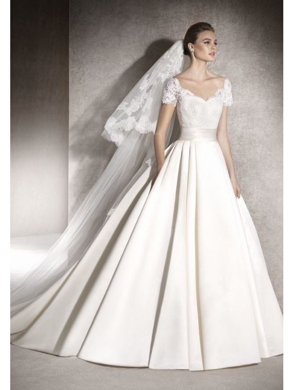Embroidered Satin Ball Gown