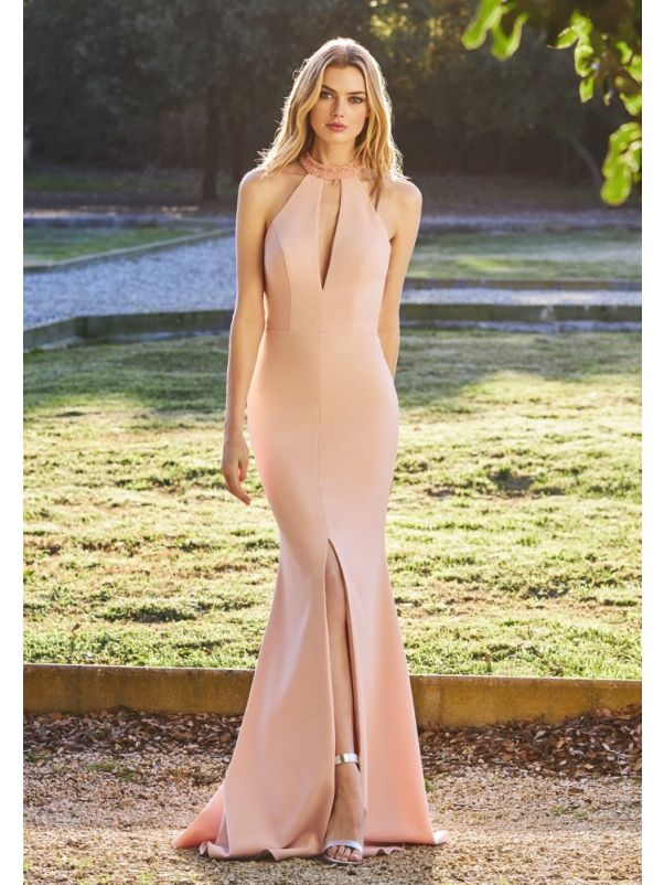 Crepe Evening Gown With Keyhole Back