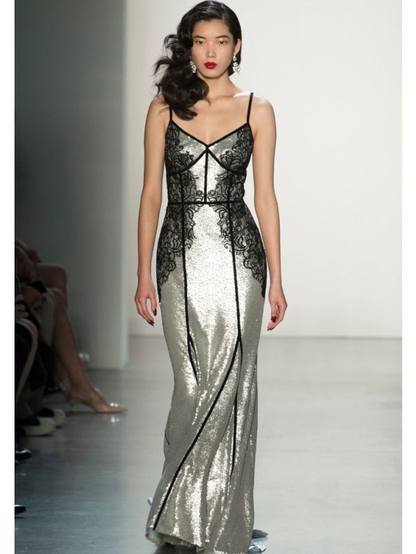 Embroidered Silver Sequined Gown