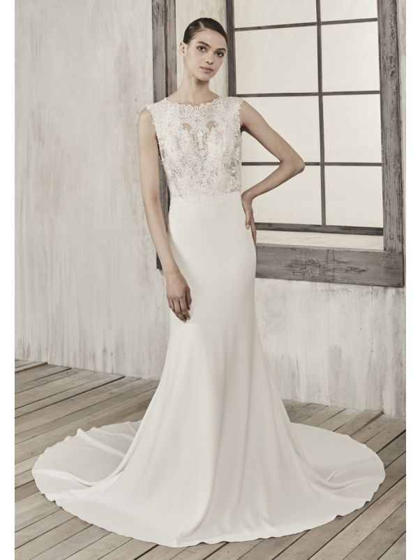 Embroidered Crepe Wedding Dress With Plunging Back